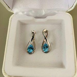 Blue Topaz Infinity Earrings